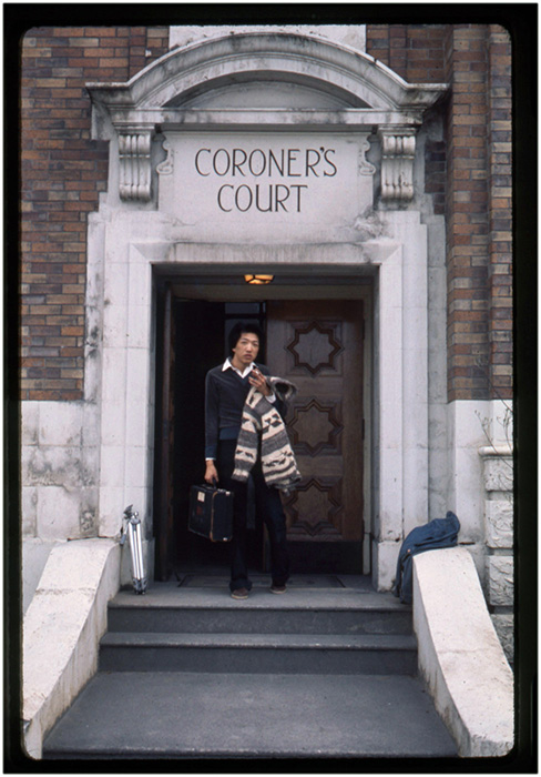 Paul Wong at the Coroners Office, 240 East Cordova Street, Vancouver, 1976, Courtesy of Paul Wong